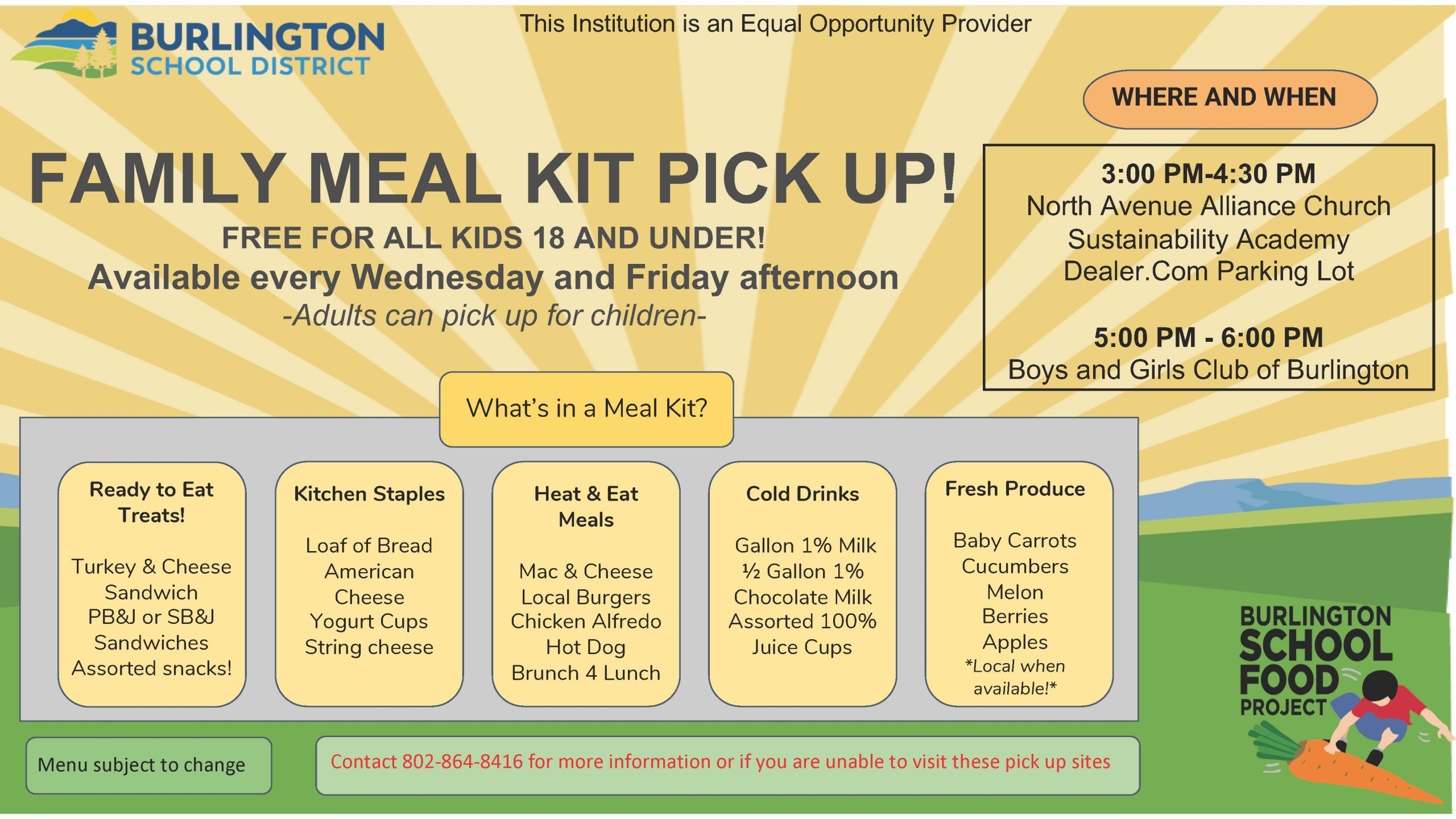 Flier-Meal Kit Pick up Locations